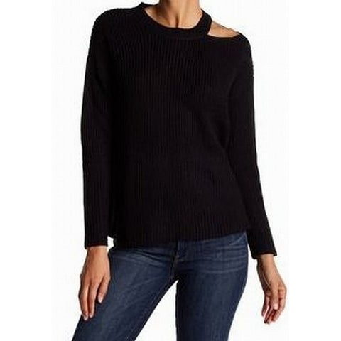 RDI Black Womens Size Large L Cold-Shoulder Knit Pullover Sweater