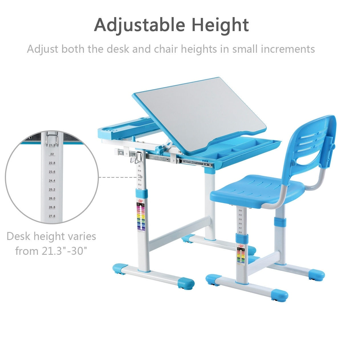Strange Gymax Height Adjustable Childrens Desk Chair Set Multifunctional Study Drawing Blue Onthecornerstone Fun Painted Chair Ideas Images Onthecornerstoneorg