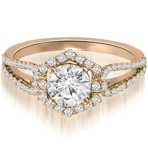 1.10 cttw. 14K Rose Gold Halo Round Cut Diamond Split-Shank Engagement Ring