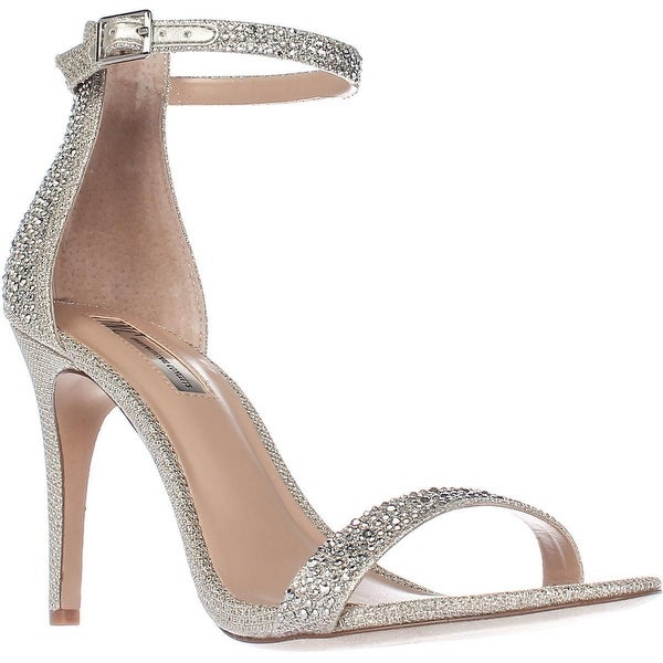 I35 Roriee2 Rhinestone Ankle-Strap Dress Sandals, Champagne