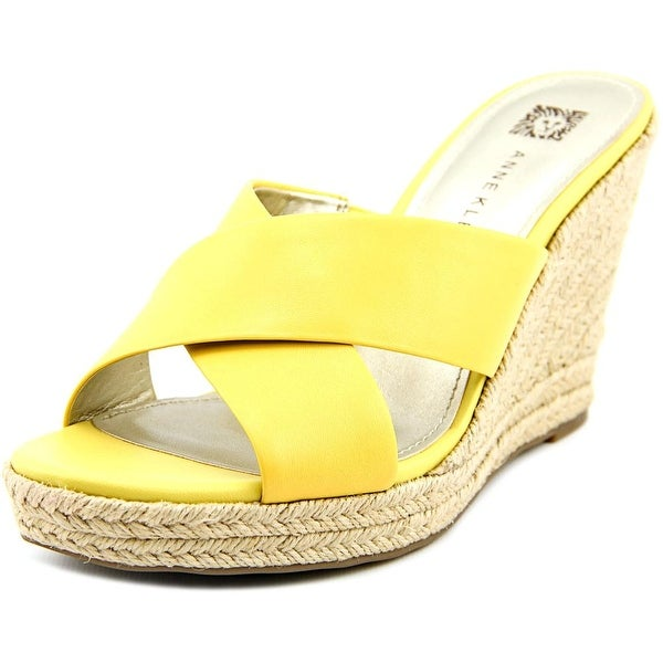 Anne Klein Waleigh Women  Open Toe Leather Yellow Wedge Heel