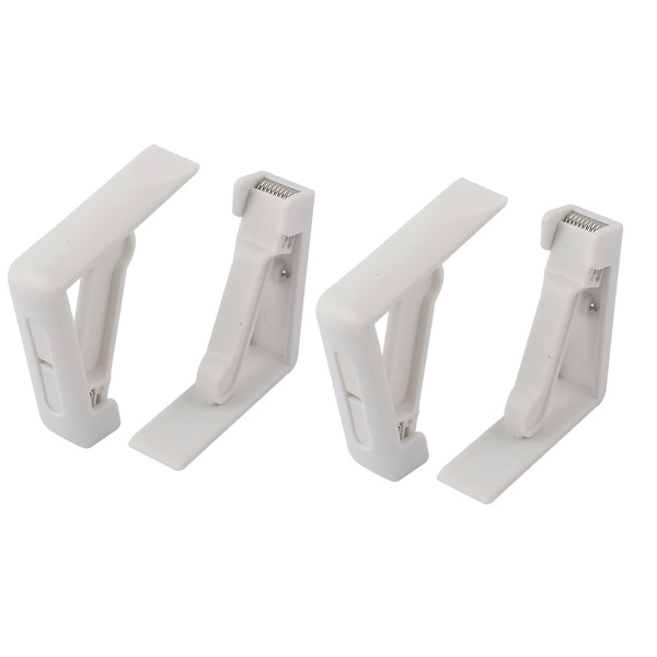 Unique Bargains Plastic Tablecloth Clips Table Cloth Clamps Holders White 50mm Thickness 4pcs