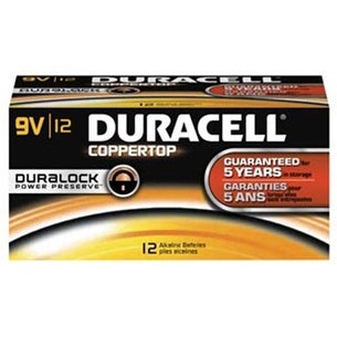 Duracell Coppertop Alkaline Battery Size 9 Volt - Bulk Box of 12