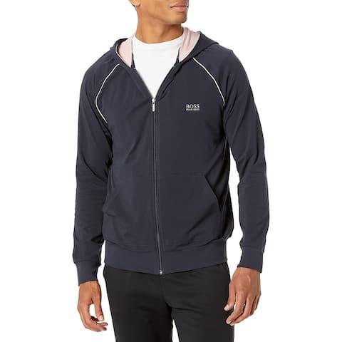 Hugo Boss Mens Mix and Match Jacket, Navy Nostalgia Rose Knit Lightweight Hoodie Sweatshirt