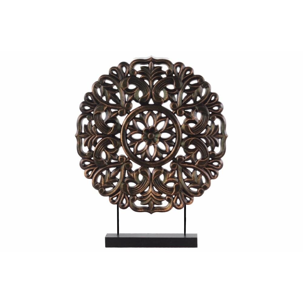 Wood Round Buddhist Wheel Ornament on Rectangular Stand, Bronze