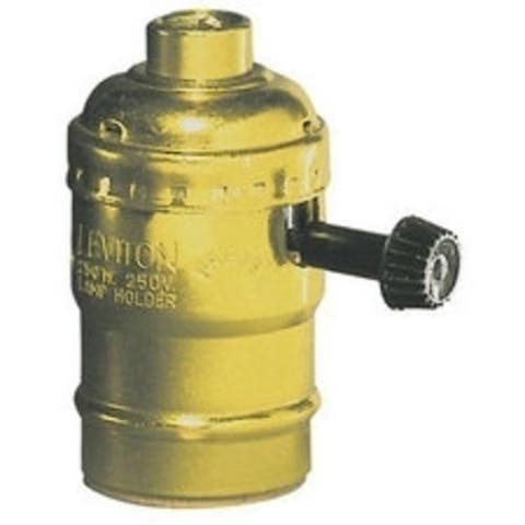 Leviton C20-07090-0PG Socket Lamp Holder Turn Knob, Brass