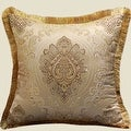 """Luxury Gold Verona Pillow Embellished With Trim 20""""X20"""" - Thumbnail 1"""