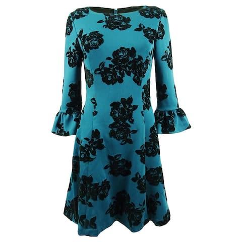 Jessica Howard Women's Flocked Fit & Flare Dress - Teal