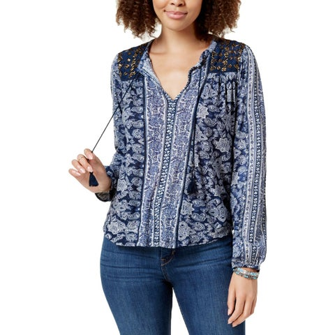 Lucky Brand Womens Peasant Top Beaded Printed
