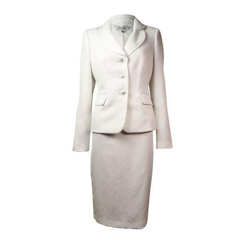 Le Suit Women's Jacquard English Garden Skirt Suit - Vanilla Ice