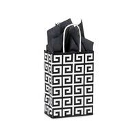 """Pack Of 250, Rose 5.5 X 3.25 X 8.5"""" Black Geo Graphics Recycled Paper Shopping Bag W/White Paper Twist Handles Made In Usa"""
