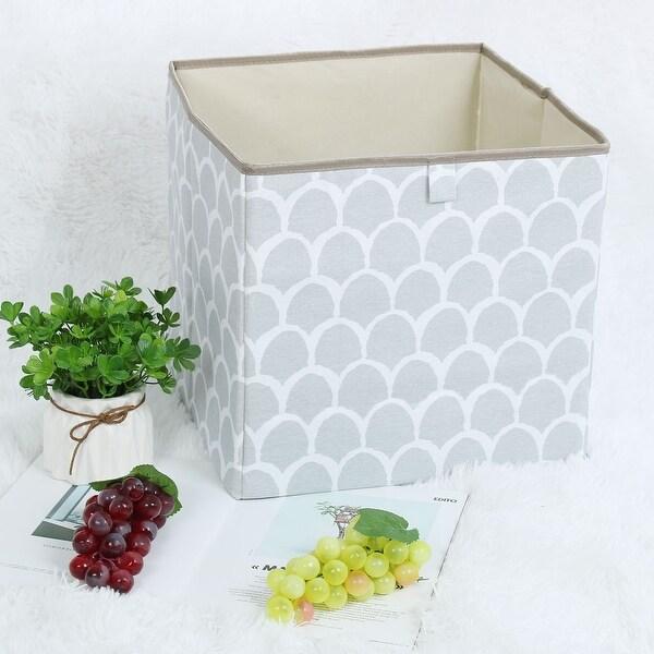 "Linen Fabric Storage Bin Toy Box Organizer 13"" x 13"" x 13"" Gray Petal Style - gray petal - 13"" x 13"" x 13"""