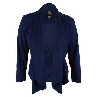 INC International Concepts Women's Draped Faux-Suede Jacket - vakko navy
