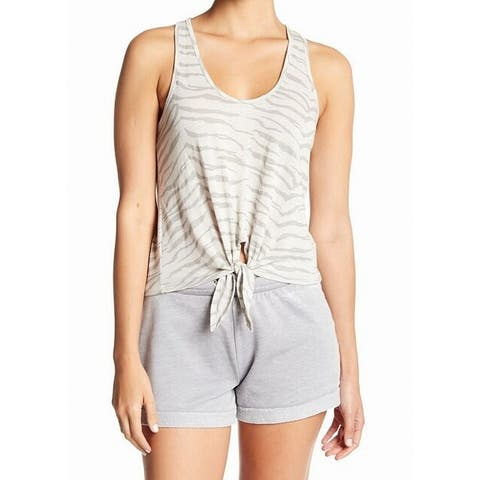 Alternative Womens Tie-Front Printed Stretch Tank Top