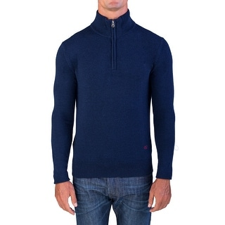 Valentino Men's Zip Neck Sweater Navy Blue