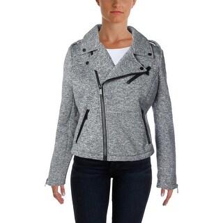 Aqua Womens Motorcycle Jacket Asymmetric Zip Sleeve