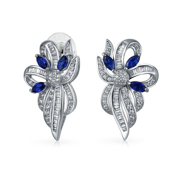 945159aa7 Shop Vintage Style Bridal Blue White Ribbon Bow Drop Stud Earrings For Women  Crystal CZ Silver Plated Brass - On Sale - Free Shipping On Orders Over $45  ...