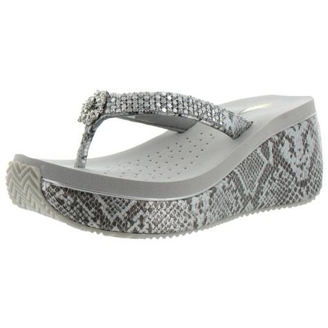 Volatile Satin Women's Rhinestone Croc EVA Wedge Sandals Snakeskin