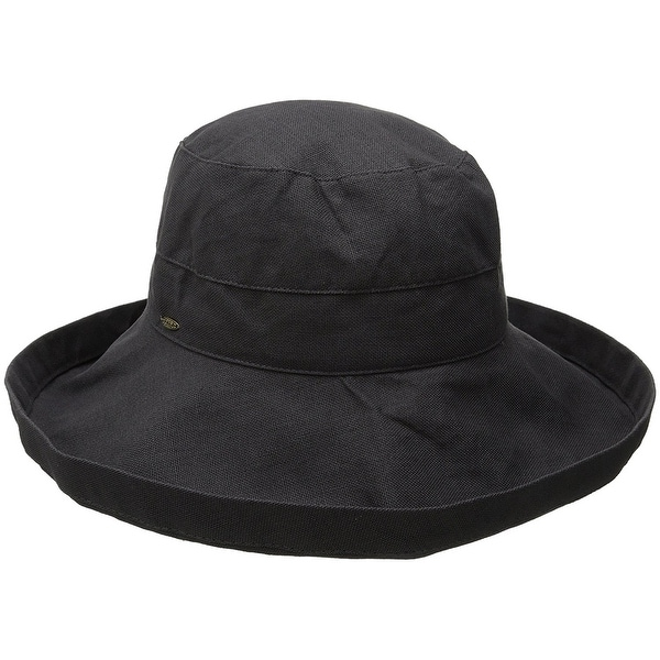 6efdc7e5dfa Shop Scala Women s Cotton Hat With Inner Drawstring and UPF 50+ Rating 399  - Charcoal - Free Shipping On Orders Over  45 - Overstock.com - 20886895