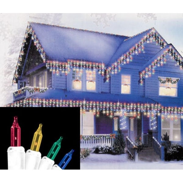 Set of 100 Multi-Color Everglow Icicle Christmas Lights - White Wire