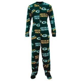 Green Bay Packers Fleece Mens Union Suit Pajamas