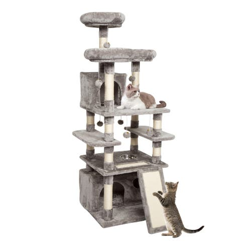 Kinpaw Cat Tree 66 Inches Kitty Activity Tree Large Kitten Tower with Feeding Bowl Scratching Posts Condo Perches Grey