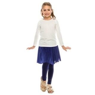Aaron & Amber Little Girls Off-White Rusching Trim Long Sleeved Shirt