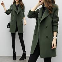 Medium long double-breasted woolen coat