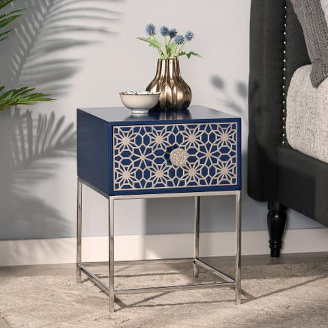 Bowes Modern Glam Handcrafted Moroccan Mesh Nightstand by Christopher Knight Home