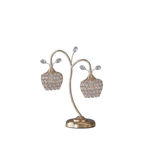 Floral Tree Design Metal Table Lamp with Dome Shade and Crystals, Gold