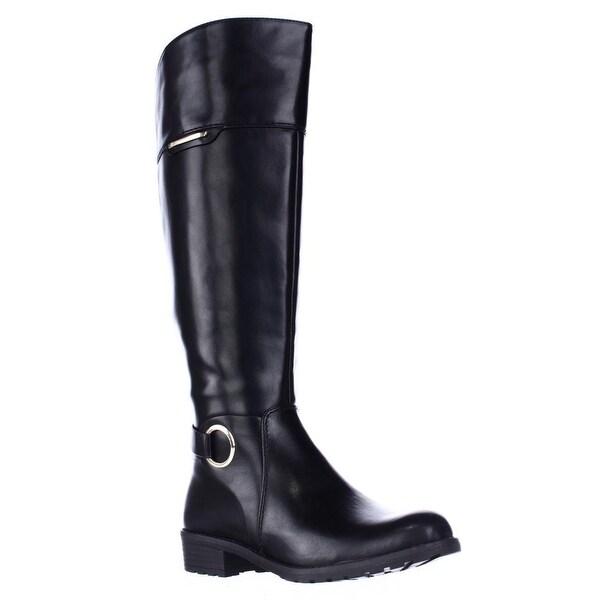 A35 Jadah Tall Wide Calf Riding Boots, Black