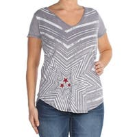 WILLIAM RAST Womens Gray Printed T-Shirt Top  Size: L