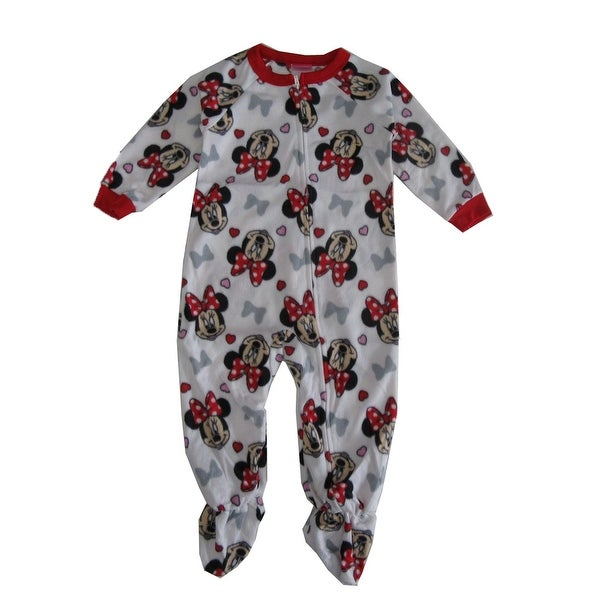 930ccd6b5 Shop Disney Little Girls Red White Minnie Mouse Print Zip-Up Footed Sleeper  - Free Shipping On Orders Over $45 - Overstock - 25745938