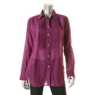 Lauren Ralph Lauren Womens Button-Down Top Silk Blend Pleated|https://ak1.ostkcdn.com/images/products/is/images/direct/c45b30efdaae54a7f233072e3b70ec150f6ca7a2/Lauren-Ralph-Lauren-Womens-Button-Down-Top-Silk-Blend-Pleated.jpg?impolicy=medium