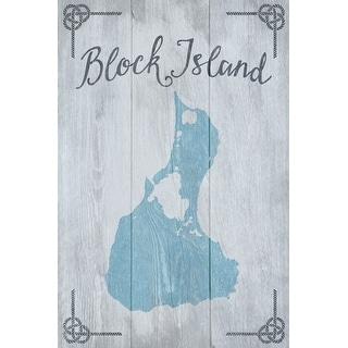 Block Island, RI - Distressed Sign - LP Artwork (Art Print - Multiple Sizes)