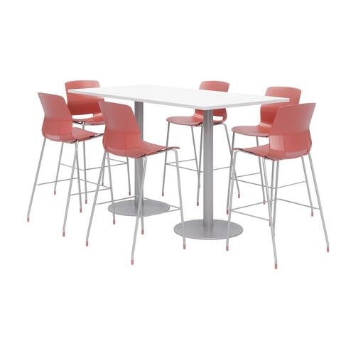 Olio Designs 6' x 3' Bistro Table Set, 6 Lola Barstools, Designer White