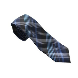 Alfani Nw Blue Reversible Plaid Tie Os