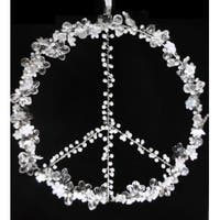 Set of 2 Clear and White Beaded Peace Sign Window Decorations 8""