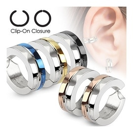 Half Color IP Pair of 316L Surgical Stainless Steel Non-Piercing Clip On Round Earrings