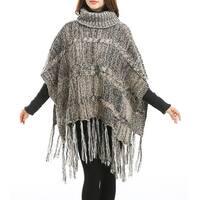 QZUnique Women's Turtleneck Shawl Batwing Sleeve Pullover Poncho Wrap