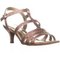 KS35 Alixa Rhinestone Strappy Sandals, Rose