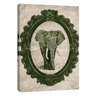 "PTM Images 9-105902  PTM Canvas Collection 10"" x 8"" - ""Framed Elephant in Evergreen"" Giclee Elephants Art Print on Canvas"