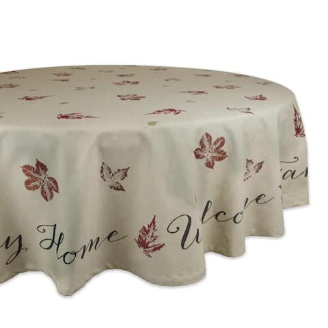 "Ivory Rustic Leaves Printed Round Tablecloth 70"" - N/A"
