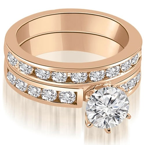 2.55 cttw. 14K Rose Gold Classic Channel Set Round Cut Diamond Bridal Set