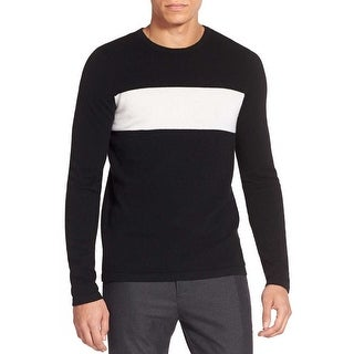 Vince Wool and Cashmere Chest Stripe Crewneck Sweater Black XX-Large