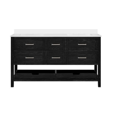 Martha Stewart Hillcrest 60 in. Vanity from Perry St. Collection in Black Cerused Hardwood finish