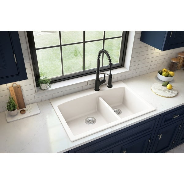 Karran Drop-In Quartz Double Bowl Kitchen Sink. Opens flyout.