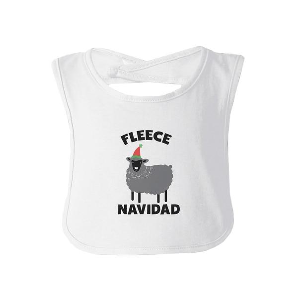 Fleece Navidad Baby Burp Bib Gift White