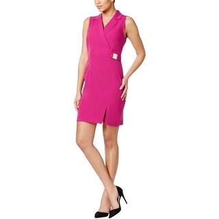 Sandra Darren Womens Petites Wear to Work Dress Ponte Sleeveless