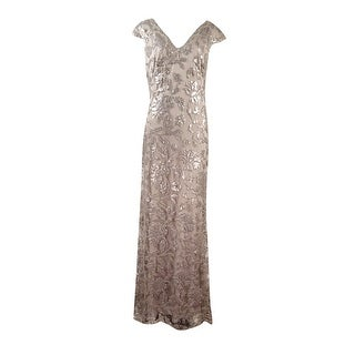 Tadashi Shoji Women's V-Neck Cap Sleeves Sequined Lace Gown - 8